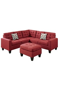WINDSOR SECTIONAL + OTTOMAN - RED