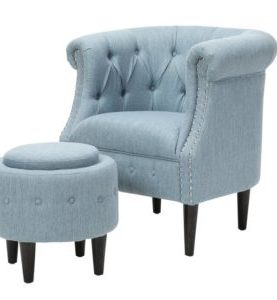 Starks Chesterfield Tufted Armchair and Ottoman