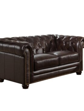 Brittany Leather Chesterfield Loveseat